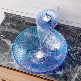 Round Sink And Tap Set Tempered Glass Bathroom Countertop Waterfall Vessel Sink